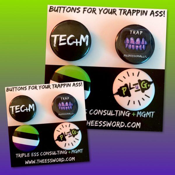 Triple Ess mini buttons